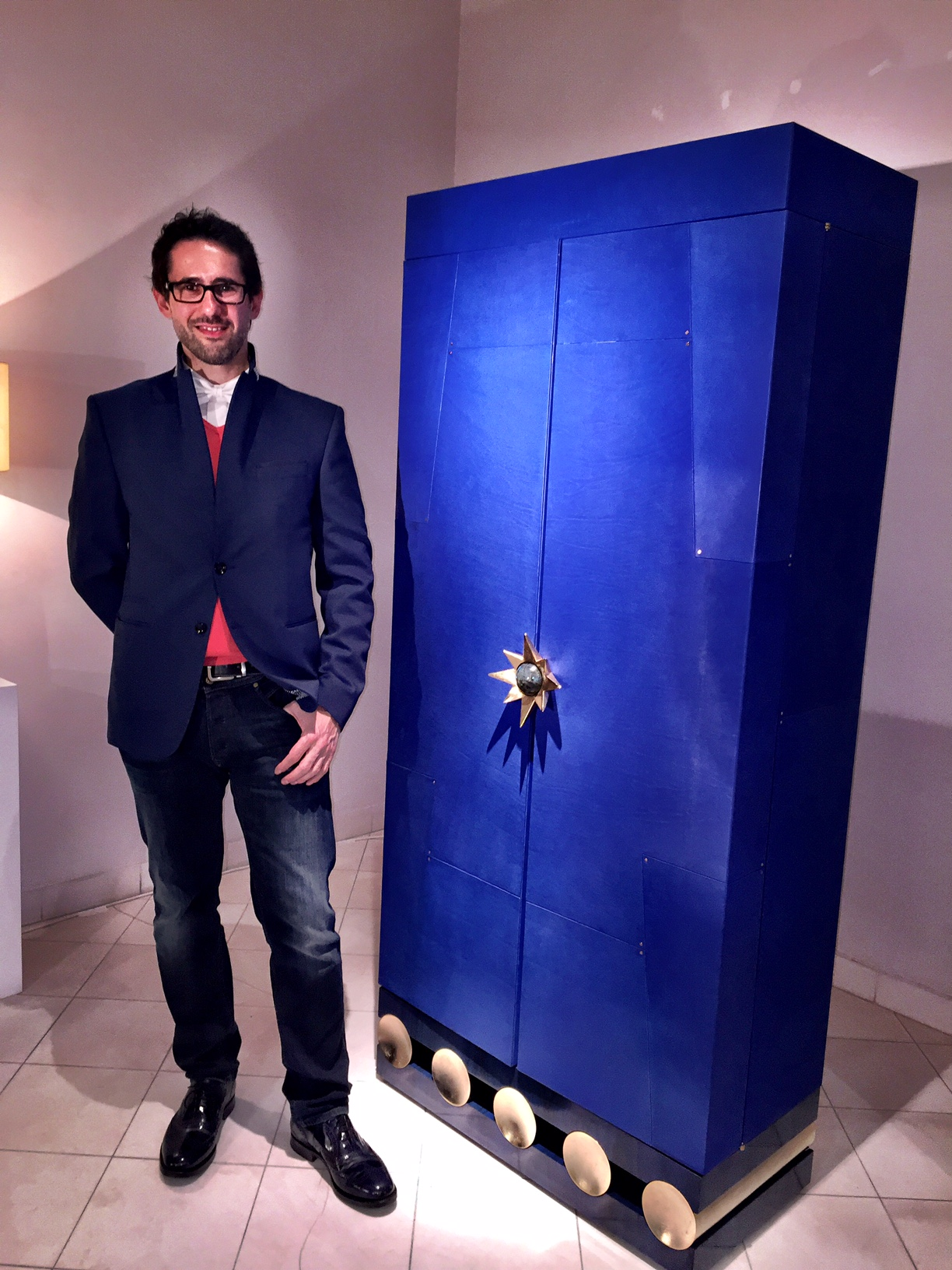 Blue Leather Wardrobe by Antoine Vignault at Galerie Patrick Fourtin Paris March 2015