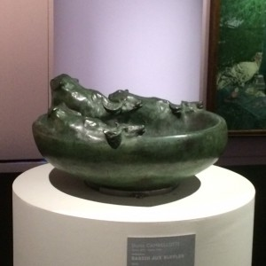 Buffalo bowl (1910) in patinated bronze by Duilio Cambellotti