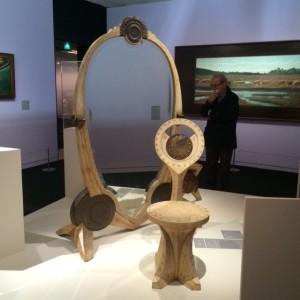 Chair and 'Pysche' mirror (c1902) by Carlo Bugatti