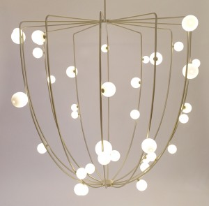 CherryBomb Cage ceiling lamp by Lindsey Adelman USA 2015 Customizable, Brass and blown glass