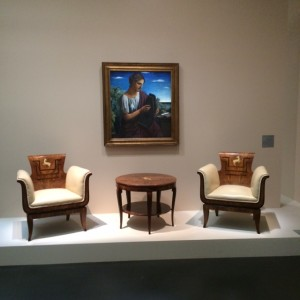 Painting 'Sapho' (1921) by Achille Funi; chairs and guéridon (1930) by Franco Albini.