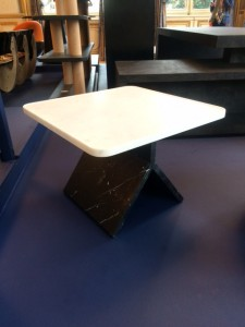 Stephane Parmentier 'Roissy' table in black Marquinia marble and white statuary marble