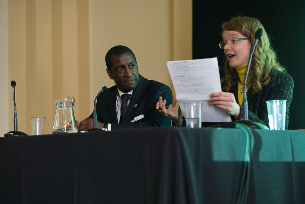 Susan Mumford and Lennox Cato (antiques dealer) debate on whether physical galleries are still necessary (at Olympia Art + Antiques Fair Summer 2011, hosted by Antiques Trade Gazette - Susan won)