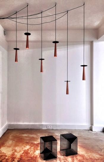 Lights and stools by Olga Bielwaska, Joseph Gallery