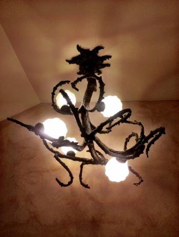 Bronze chandelier by Saint Clair Cemin