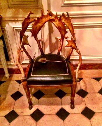 Pair of deer antler chairs, 19th century, Northern Europe
