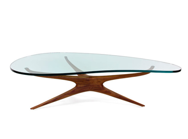 Tri-symmetric 412 glass coffee table. Designed 1950. Image courtesy of Vladimir Kagan Designs.
