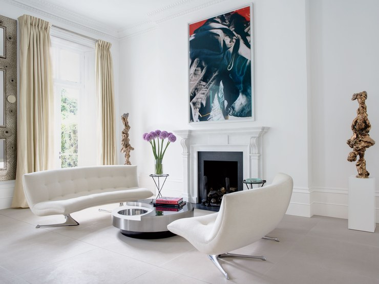 Unicorn sofas in a private London home by Vladimir Kagan. Image courtesy of AD.