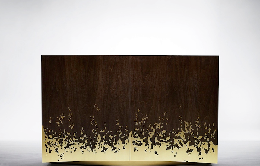 'Blaze' cabinet in brass and tulip wood, 2015 by Alex Hull