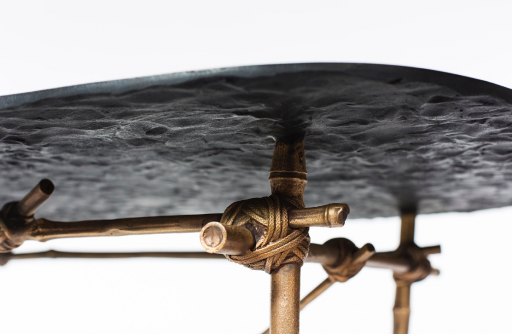 Detail of 'Mis en Place' table in patinated bronze by Glithero