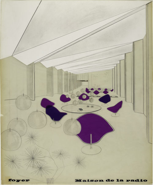 Drawing of Foyer of the Maison de la Radio, Paris, Pierre Paulin, 1961.