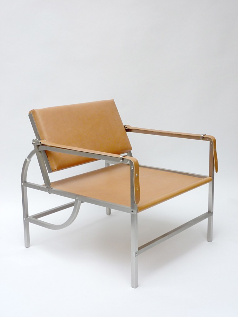 'Newcair' armchair in stainless steel, brass and leather, 2015 by Thomas Lemut