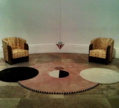 Spectacular combination Michel Dufet chairs in python with carpet and blown glass mobile by Felipe Robin, DDays May 2014